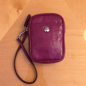Coach Patent Leather Wristlet- Fuschia